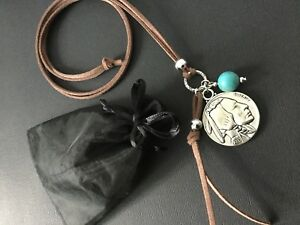 Long BROWN Suede Necklace With COIN Turquoise And Tassel pendants Lagenlook