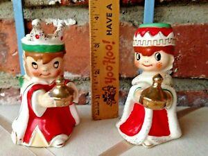 2 Vintage Holt Howard Japan Porcelain Christmas Wise Men Candle Holder Bells!