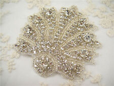 Splendidi strass nozze APPLIQUE DIAMANTE NUZIALI APPLIQUE Trim Perline Motif