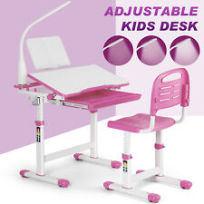 Adjustable Height Ergonomic Kids Study Desk And Chair Child Table Storage Lamp