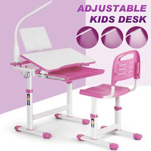 Kids Functional Desk and Chair Set Height Adjustable Children Study Desk School