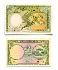 New listing 2 diff. South Vietnam 1 and 5 Dong 1955-56 xf/Au- 1 dong has some staining