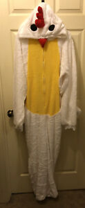 Chicken White Costume One Piece Jumpsuit Pajamas Rubies Adult Size L/XL!!