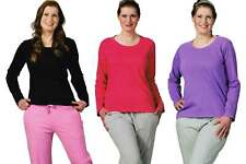 3Crowns® Damen Schlafanzug Pyjama 2-teilig Lange Hose Langarm Oberteil