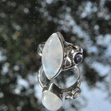 Mondstein Ring, 925er Silber, Edelsteinring (21303), mit Cordierit, Iolith