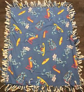 "Vintage BLUES CLUES Homemade Lovey Fleece Blanket 44x36"" Blue Throw Puppy Dog E4"
