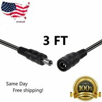 1m/3ft 12v CCTV DC Power Cable Extension Cord Adapter Male/female 5.5mm x 2.1mm
