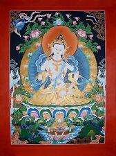 "33.5"" x 25"" Vajrasattva Dorje Sempa Tibetan Buddhist Thangka Painting From Nepal"