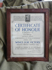 EAST BUDLEIGH -CERTIFICATE OF HONOUR SAVINGS GROUP UNDER WINGS FOR VICTORY 1943