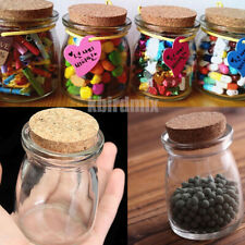 100ML Small Clear Glass Storage Bottle Jars Vial Container With Cork Stopper