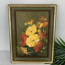 Vintage MCM Abstract Floral Still Life Painting Heavy Impasto Palette Knife Gold