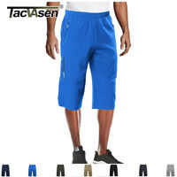 Men's 3/4 Long Pants Running Sports Capri Shorts Outdoor Walking Hiking Shorts