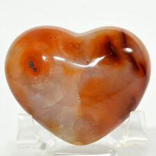 "2.5"" Carnelian Agate Puffy Heart Red Blue Natural Quartz Mineral - Madagascar"