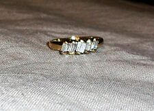 14K Yellow Gold Diamond Baguette 5-Stone Band Ring, Size 7, 0.60(TCW) 3.2GR