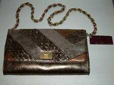 Elliott Lucca Cordoba Large Clutch Handbag Pewter Genuine Leather - NWT