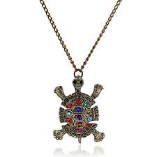 Women Bronze Plated Tortoise Sea Turtle Pendant Chain Sweater Necklace Jewelry
