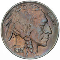 1936-P BUFFALO NICKEL FULL HORN CHOICE LUSTER TONED BU BEAUTIFUL COLOR UNC (DR)