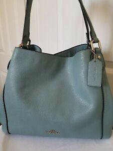COACH Edie Refined Pebble Leather Large Hobo Shoulder Bag Blue