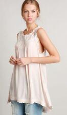Women's POL Blush Pink Lace Tie Back  Tank Top Boho Anthropologie M MEDIUM