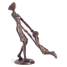 Danya B™ Mother Playing and Swinging Child Cast Bronze Sculpture Figurine ZD9310