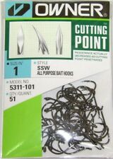 OWNER HOOKS SSW ALL PURPOSE BAIT Cutting Point Black 5311-101 SZ 1 QTY 51