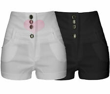 Ladies Girls High Waisted Hotpants Jean Style Shorts Black / White Size uk6-uk14