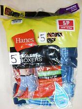 Hanes Mens Size Small S Boxers Cotton Tagless Tartan Blue Underwear 5-pack