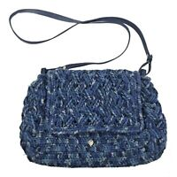 HELEN KAMINSKI Blue Crochet Knit Flap Over Crossbody Shoulder Bohemian Purse Bag
