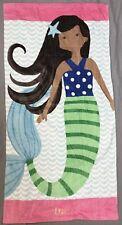 "Pottery Barn Kids Dark Skinned Lea Mermaid Mini Beach Towel ""Kyah"" Monogram"