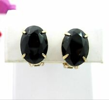 BIG BLACK OVAL GLASS RHINESTONE Clip On EARRINGS Vintage Solitaire Goldtone 5/8""