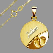 Anhänger mit Babyfüßen-Echt Gold/333(8Karat)- Inkl. vergoldete Kette & GravuR