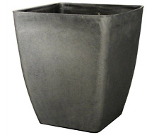 42L AGED BLACK STONE Large Plant Pot Square Tall Plastic Planter Outdoor Garden