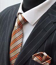 Tie Neck tie with Handkerchief Gold Orange & Black Stripe