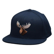Moose Head Snapback Hat by LET'S BE IRIE - Navy Blue