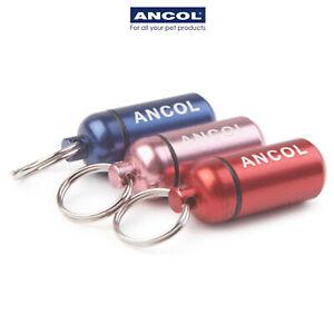 Ancol Dog Puppy ID Tube Aluminium Tag Metal Capsule Red Blue Lilac Barrel