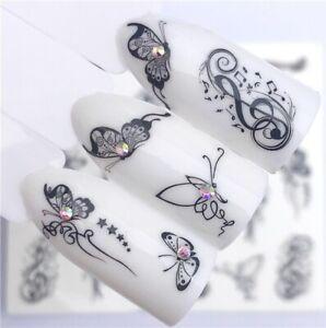 Nail Art Sticker Sheet Black Butterfly Waterproof For Stylish Girls