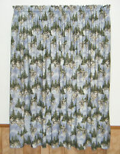 RUNNING GREY WOLVES WOLF CURTAINS DRAPES MAN CAVE w/ TIEBACKS FREE SHIP!!