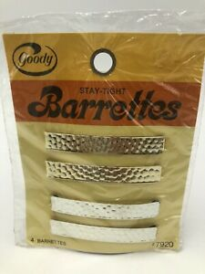 "Vintage 1970s Goody Stay Tight Barrettes 2.25"" Gold Silver Pkg 4 USA"