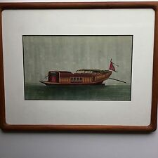 Antique Framed Chinese Tempera on Rice Paper circa 1895 of Chinese Junk Boat