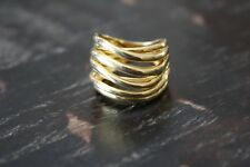 925 Sterling Silver Gold Plated Multi Band Wrap Look Band Ring Sz 6 GUC 6.1g