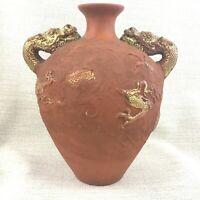 Cinese Terracotta Ceramica Urna Bottiglia Vaso Grande Doppio Oro Drago Maniglie