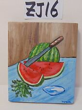 ORIGINAL SIGNED FOLK ART PAINTING ON WOOD PJ BICK MID CENTURY FOOD WATERMELON