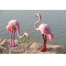 2x Pink Artificial Feather Lawn Pond Flamingo Garden Party Figurine Ornament