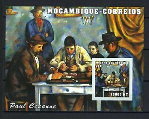 Mozambique 2001 Sc#1496  Cezanne Paintings-The Card Players  MNH Imp. S/S $6.25