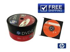 50-PACK 16X HP Logo Top Blank DVD-R DVDR Disc 4.7GB + 1 FREE HP-CD-RW Disc