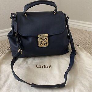 Chloe Crossbody Elsie Large Navy Blue Leather Designer Shoulder Bag