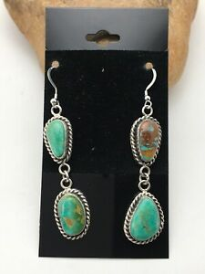 "Gift Sale Navajo Royston Turquoise Sterling Silver Dangle Earrings Set 2"" 4081"