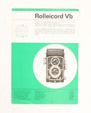 ROLLEI ROLLEICORD VB SALES SHEET, PUB CODE E 0363/146956