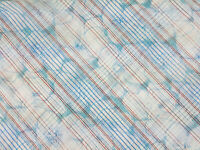 Sheer Floral fabric remnant Large Floral Dusty Blue Red Crepe