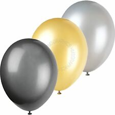 Black Silver Gold Balloons Graduation New Year Plain Table Party Decorations